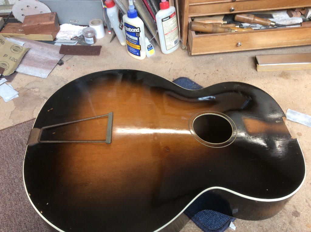 Freshly polished archtop guitar